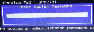 system password for dell laptop